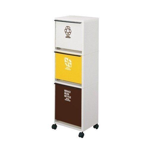 アスベル 分別ゴミ箱 資源ゴミ分別ワゴン 3段ワイド ブラウンイエローホワイト B0092JXLSS