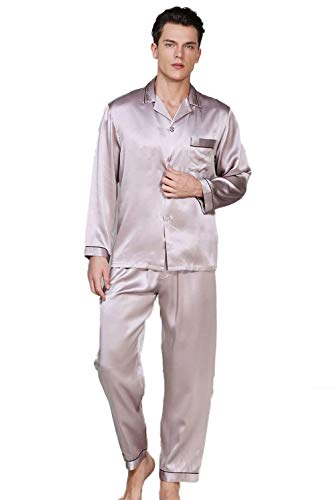 Violettgrau Hombres 100 Joven Los Negligee Seda La Pijamas Fijada De Mora vEUqHw