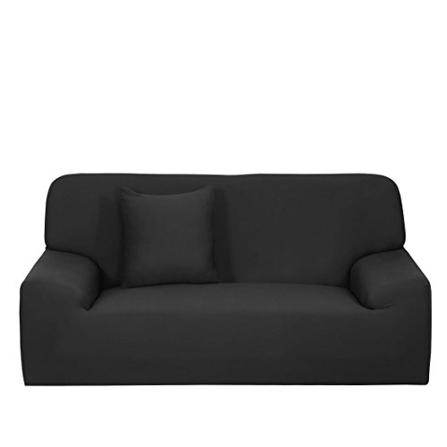 uxcell Stretch Sofa Cover Loveseat Couch Slipcover, Machine Washable, Stylish Furniture Protector with One Cushion Case (3 Seater, Black)
