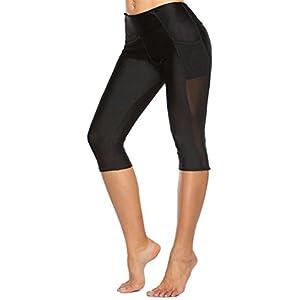 Cromoncent Womens Mesh High Elastic Waist Butt Lift Yoga Capri Leggings Black L