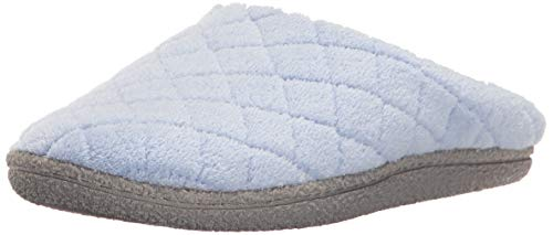 Dearfoams Women's Leslie Quilted Microfiber Terry Clog, Iceberg, Medium/7-8 M US