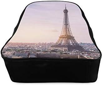 France Skyline Paris Romantic Eiffel Tower College Bags Ladies School Bags School Bags For Women Print Zipper Students Unisex Adult Teens Gift