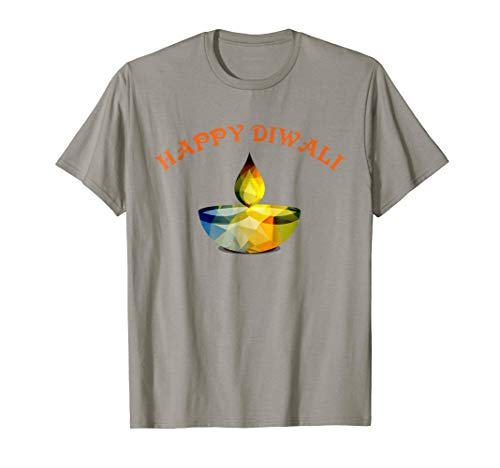 Happy Diwali Diya Gift T Shirt Hindu Festival of Lights by Diwali Gift T Shirts for Family with Low Poly