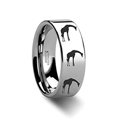 Animal Giraffe Print Ring Engraved Flat Tungsten Ring - 4mm - 12mm