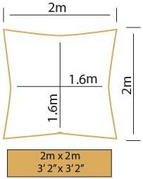 Cuadrado 2,0m Kookaburra Toldo Vela Verde Lima Impermeable 160g//m/² Poli/éster Protecci/ón Solar 98/% Anti UV para Exteriores Balc/ón Terraza Patios Jardines