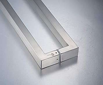 Mirror Polished Chrome Finish TOGU TG-6017 12 inches Square//Rectangle Solid Standoffs Heavy-Duty Commercial Grade-304 Stainless Steel Push Pull Door Handle//Barn Door Pull Handle//Glass Pulls