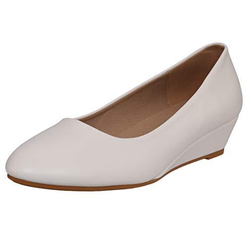 CINAK Low Wedge Heel Dress Shoes for Women- Classic Comfort Slip on Office Round Toe Pumps