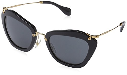 Miu Miu MU10NS Sunglasses-1AB/1A1 Black ()