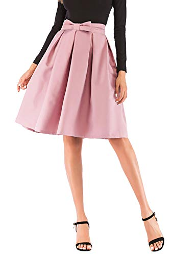 - Hanlolo Teen Girls Pink Skirts Pleated Flared High Waisted Midi Skater Skirt