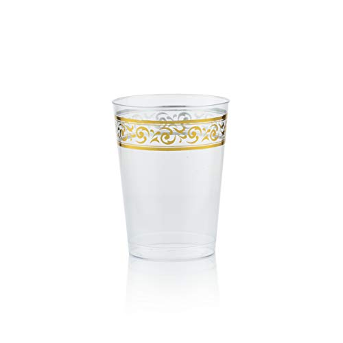 Gold Plastic Cups 10 oz Clear Plastic.Tumblers Gold Rimmed Party Cups with Elegant Gold Premium Design 40 Pack Posh Setting