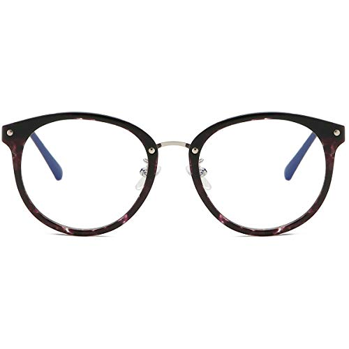 SOJOS Round Anti Blue Light Blocking Glasses Women Computer Eyeglasses Ashley with Purple Marble Frame/Anti-Blue Light Lens