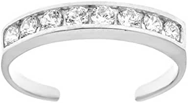 10k Solid White Gold Eternity Band Cubic Zirconia Toe Ring Channel Set Adjustable