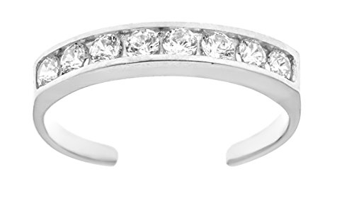 10k White Gold Eternity Band Cubic Zirconia Toe Ring Channel Set Adjustable Body Jewelry ()