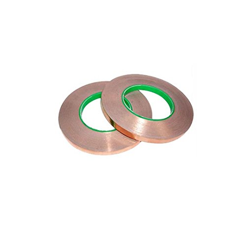 LGEGE (2 rolls) Dual Conductive Adhesive 55yd Electron Copper Foil Tape Self-adhesive copper foil tape Stained Glass, Slug Repellent, EMI Shielding, Paper Circuits, Electrical Repairs