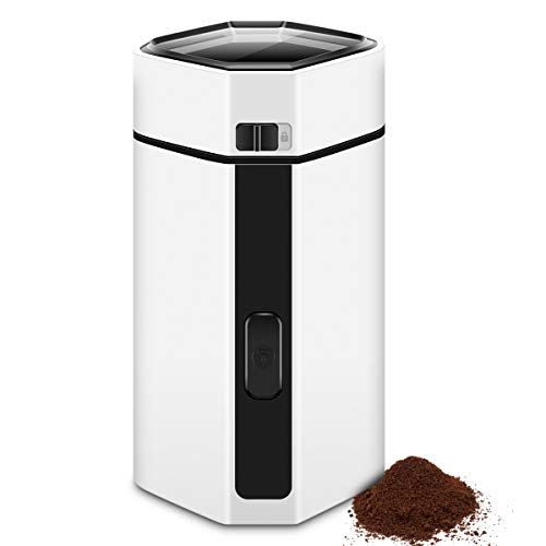 Electric Coffee Bean Grinder, CUSINAID Spice Nut Grinder Coffee with Stainless Steel Blade for Coffee Grounds, Grains, 50g Big Capacity White