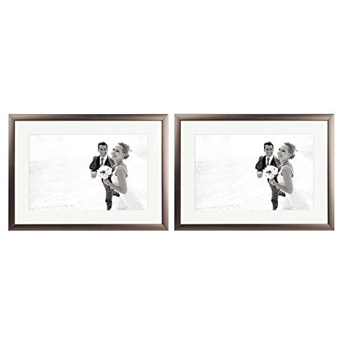 Golden Bronze Frames Set - Golden State Art, Set of 2, 5x7 Aluminum Photo Frame, Medium-Bronze Color, with Ivory Mat for 4x6 Picture, Easel Stand for Table-Top & Real Glass (Medium-Bronze)