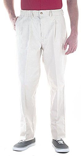 ic Waist Twill Pants for Big & Tall Mens – 56 – White (Twill Double Pleat Pants)
