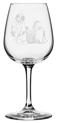 Shih Tzu Dog Themed Etched All Purpose 12.75oz Libbey Wine Glass