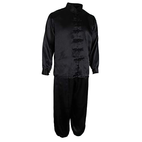 Fenteer Traditional Silk Satin Tai Chi Uniform Kung Fu Sports Outfit Costume for Women Men - Black, 2XL