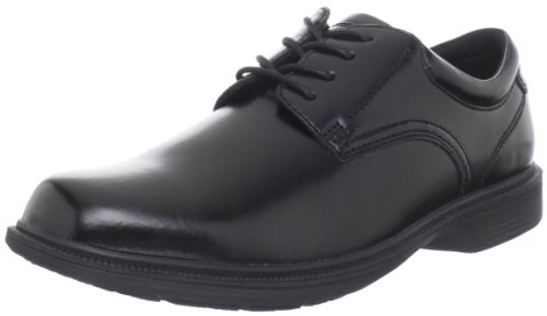 Nunn Bush Lace Oxfords - Nunn Bush Men's Baker Street Plain Toe Oxford Lace Up with KORE Slip Resistant Comfort Technology, Black, 14 Wide US