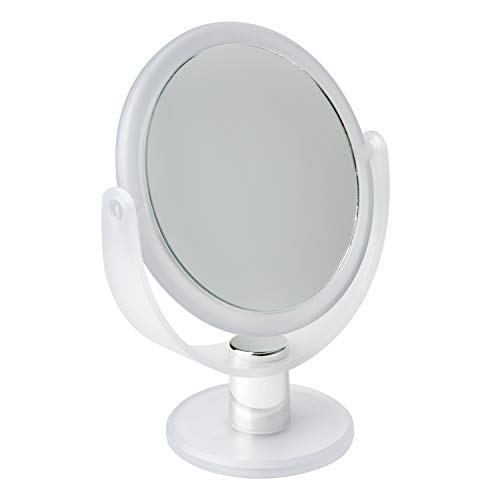 Bath Bliss Double Sided Free Standing Swivel Vanity Mirror, Regular & 10X's Magnification, Make-up & Shaving Use, Tabletop, Rubberized, Frost (Vanity Bliss)