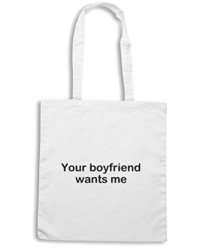 T-Shirtshock - Bolsa para la compra TDM00312 your boyfriend want me Blanco