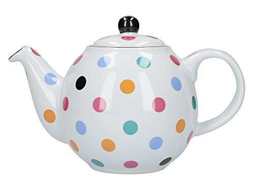 London Pottery Globe Polka Dot Teapot with Strainer, Ceramic, White/Multi Spot, 6 Cup (1.2 Litre)
