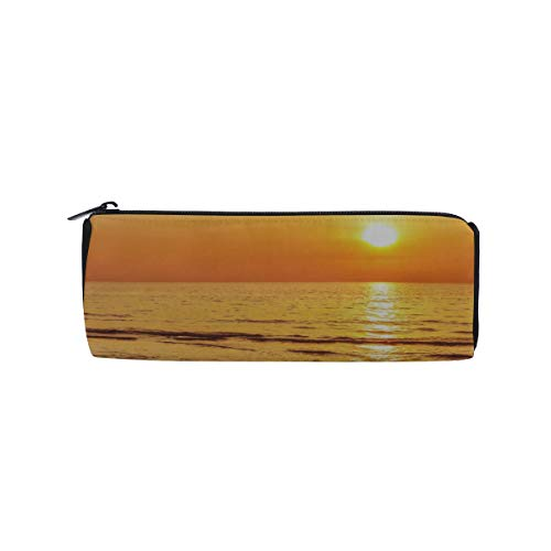 Sun Setting On The Beach with Orange and Yellow Sky Students Super Large Capacity Barrel Pencil Case Pen Bag Cotton Pouch Holder Makeup Cosmetic Bag for Kids