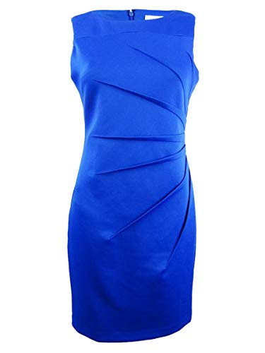 Calvin Klein Women's Petite Sleeveless Scuba Starburst Sheath Dress, Capri, 6P