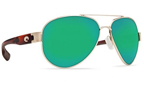 Costa Del Mar South Pt. 580G South Pt., Rose Gold with Light Tortoise Frame Temples Green Mirror, Green - Mar Gold Del