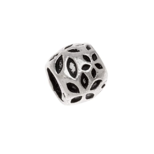 Beadaholique Embossed Daisy Pandora Compatible Beads, 7mm, Sterling (Silver Embossed Daisy)