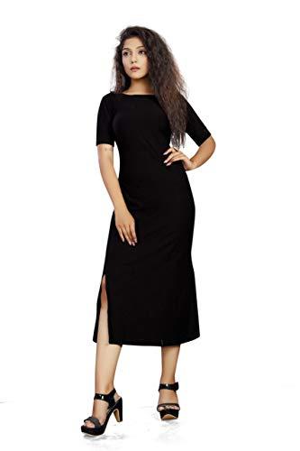 Florona enterprise Women's A-Line Knee Length Half One Piece Western/Short Dress (Black, X-Large)