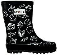 Stonz Rain Boots 100% Natural Rubber for Kids Boys & Girls - Safe No Chemicals Summer