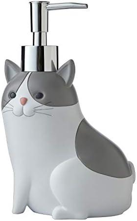 SKL HOME by Saturday Knight Ltd. Pet Play Cat Soap Dispenser, Dove Gray
