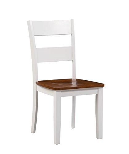 Trithi Furniture Fullerton Asian Solid Wood White Kitchen & Dining Chair with Cherry Wood Seat, Set of 2