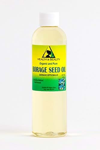 Borage Seed Oil Unrefined Organic Virgin GLA-20% Cold Pressed by H&B OILS CENTER Premium Natural Fresh Pure 4 oz