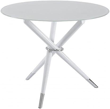 Mesa para comedor cristal redonda BELCO12A pie lacado y: Amazon.es ...