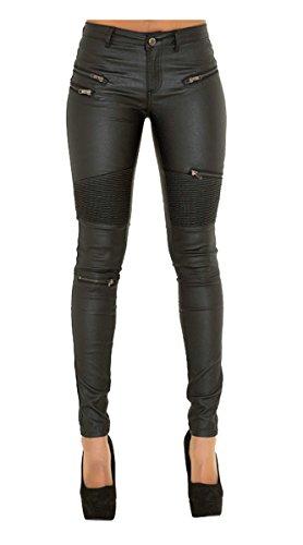 Cuckoo Women's Sexy Stretchy Black PU Leather Pants Skinny Leggings M]()