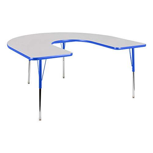 Horseshoe Adjustable Height School Classroom Activity Table - Gray Nebula Top/Blue -