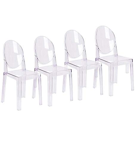 2xhome Set of 4 Large Size - Clear Crystal Mid Century Modern Contemporary Ghost Side Chair Dining Room Chair Victoria Accent Seat Living No Arms Wheels Armless With Back Transparent Guest Office Work ()