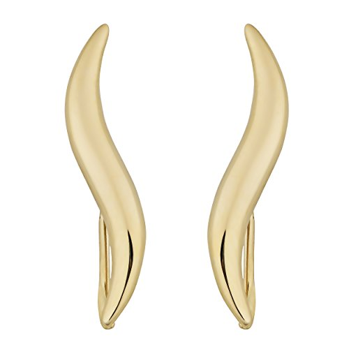 14k Yellow Gold Wave Climber Earrings by Kooljewelry