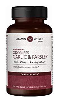 Vitamin World Odorless Garlic & Parsley Garlic 500 mg / Parsley 100 mg 250 rapid release softgels