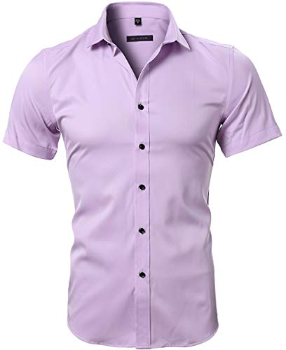 - INFLATION Men's Bamboo Fiber Dress Shirts Slim Fit Short Sleeve Casual Button Down Shirts  Elastic Formal Shirts Pink US Size XXS (Tag38)