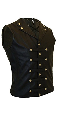 Olly And Ally Mens Black Leather Waistcoat Vest Victorian Corset Steel Boned Goth Military- (L_STEAM2) Small
