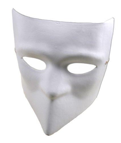 [RedSkyTrader Mens Plain Paper Mache Bauta Craft Mask One Size Fits Most White] (Plain White Mask Costume)