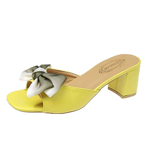- GHrcvdhw Summer Sweet Butterfly-Knot Slippers Open-Toed Slippers Rough Middle Heels Casual Women's Slippers Yellow