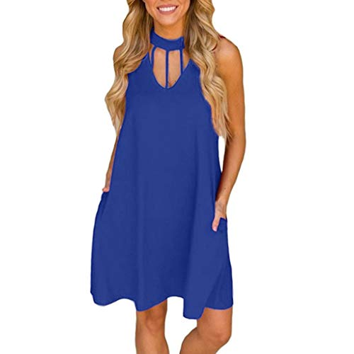 (ZSBAYU Dress for Women, Sale Ladies Solid Pockets Zipper Boho Sleeveless Casual Mini Beachwear Dress Maxi Sundress(Blue,XXL))