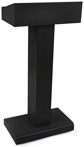 Displays2go Steel Podium with Rectangular Base, Open Storage Area, Powder Coated Finish – Black (LCTMETFBLK) by Displays2go