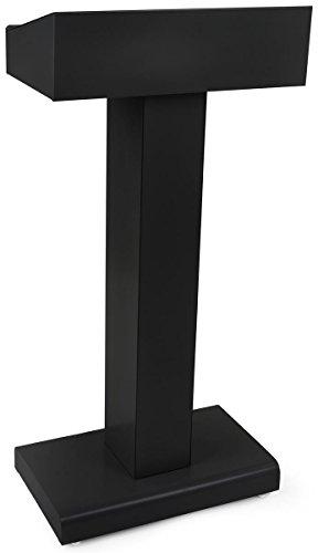 - Displays2go Steel Podium with Rectangular Base, Open Storage Area, Powder Coated Finish - Black (LCTMETFBLK)