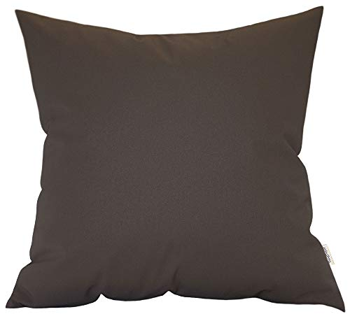"TangDepot Thick Faux Leather Luxury Pillow Cover Cushion Case for Sofa Bed, European Indoor/Outdoor Cushion Covers - (24""x24"", Chocolate)"